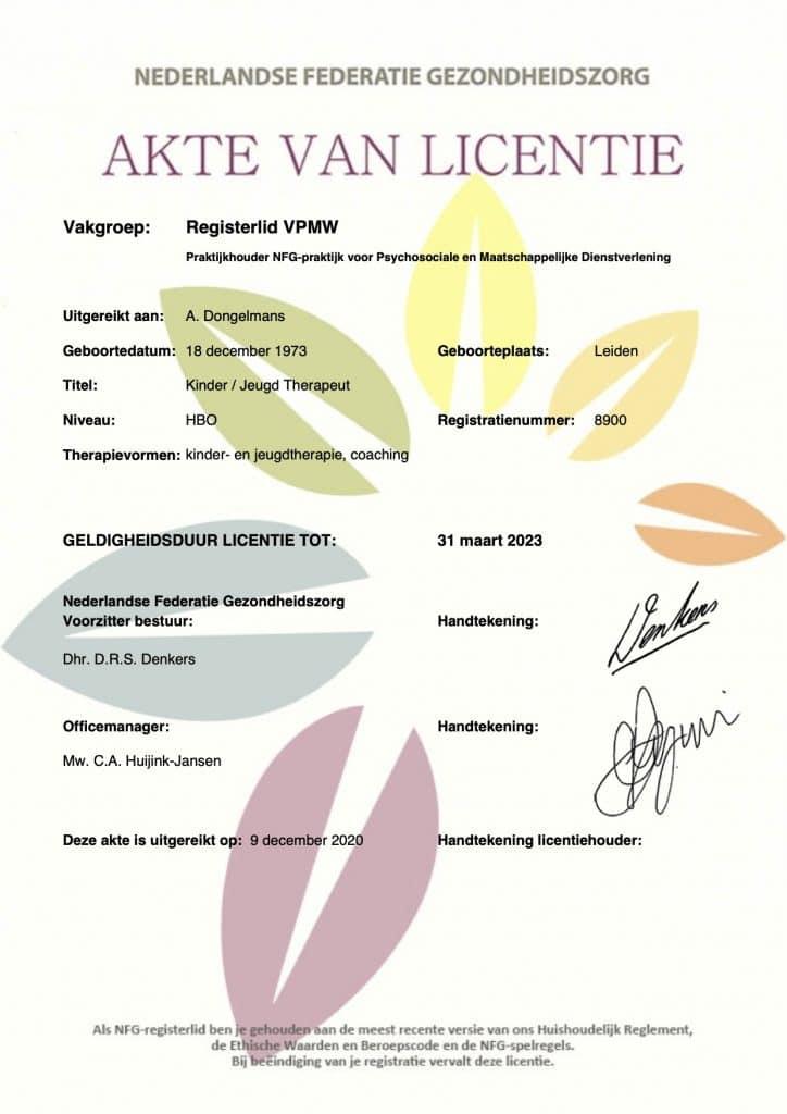 NFG akte van licentie